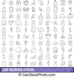 100 human icons set, outline style