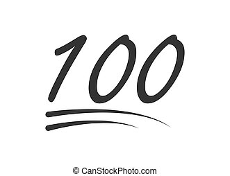 100 - hundred number vector icon. Symbol isolated on white background