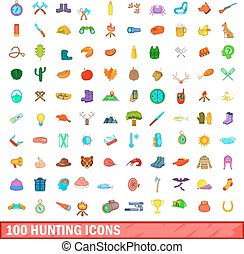 100 hunting icons set, cartoon style