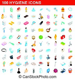 100 hygiene icons set, isometric 3d style