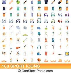 100, icônes, style, sport, dessin animé, ensemble