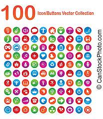 100, icon-buttons, vektor, kollektion