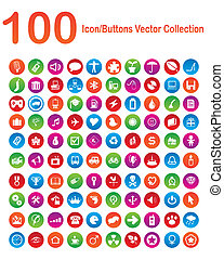 100, icon-buttons, vektor, samling