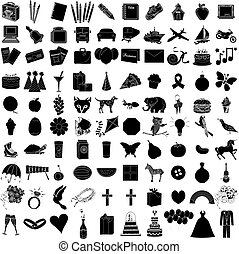 100, icono, conjunto, 1
