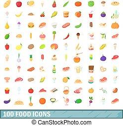 100, iconos del alimento, conjunto, caricatura, estilo