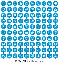 100, iconos del internet, conjunto, azul
