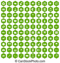 100 icons hexagon green