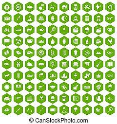 100 icons hexagon green