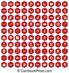 100 icons hexagon red