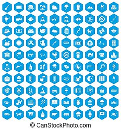 100 icons set blue