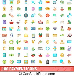 100 icons set, cartoon style