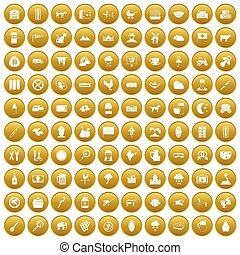 100 icons set gold