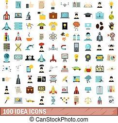 100 idea icons set, flat style