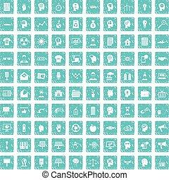 100 idea icons set grunge blue