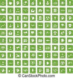 100 idea icons set grunge green