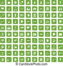 100 idea icons set grunge green