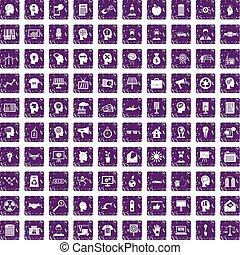 100 idea icons set grunge purple
