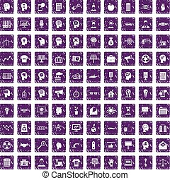 100 idea icons set grunge purple