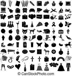 100, ikone, satz, 1