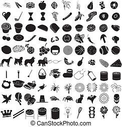100, ikone, satz, 3