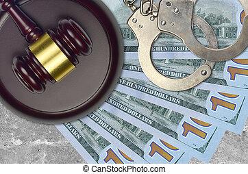 100, impôt, procès, police, dollars, action éviter, nous, judiciaire, menottes, juge, tribunal, ou, bribery., factures, desk., marteau, concept