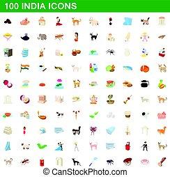 100 india icons set, cartoon style