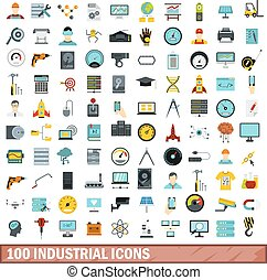 100 industrial icons set, flat style