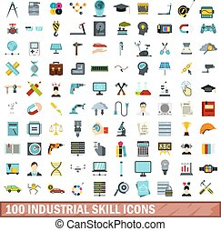 100 industrial skill icons set, flat style