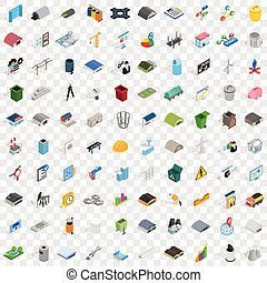 100 industry icons set, isometric 3d style