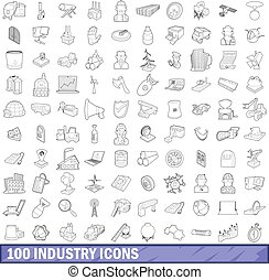 100 industry icons set, outline style