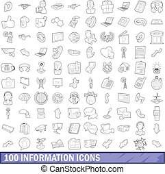 100 information icons set, outline style