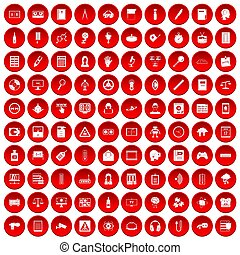 100 information icons set red