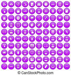 100 initiation icons set purple