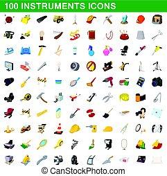 100 instruments icons set, cartoon style