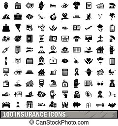 100 insurance icons set, simple style