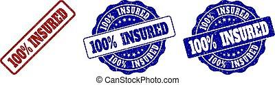100% INSURED Grunge Stamp Seals