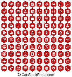 100 interaction icons hexagon red