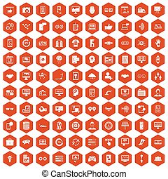 100 interface icons hexagon orange