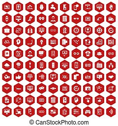 100 interface icons hexagon red
