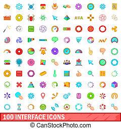 100 interface icons set, cartoon style