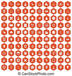 100 interface pictogram icons hexagon orange