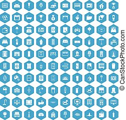 100 interior icons set blue