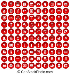 100 interior icons set red