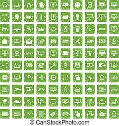 100 internet icons set grunge green