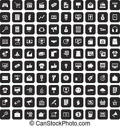 100 internet marketing icons set black