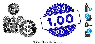 1.00, investisseur, timbre, mosaïque, icône, détresse
