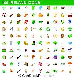 100 ireland icons set, cartoon style