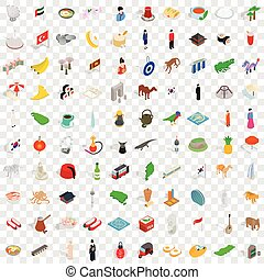 100 islam icons set, isometric 3d style
