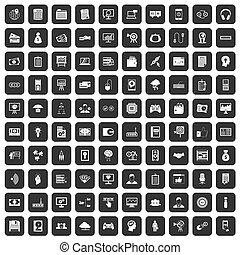 100 IT business icons set black