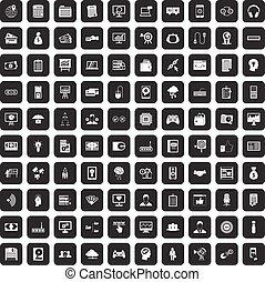 100 IT business icons set black